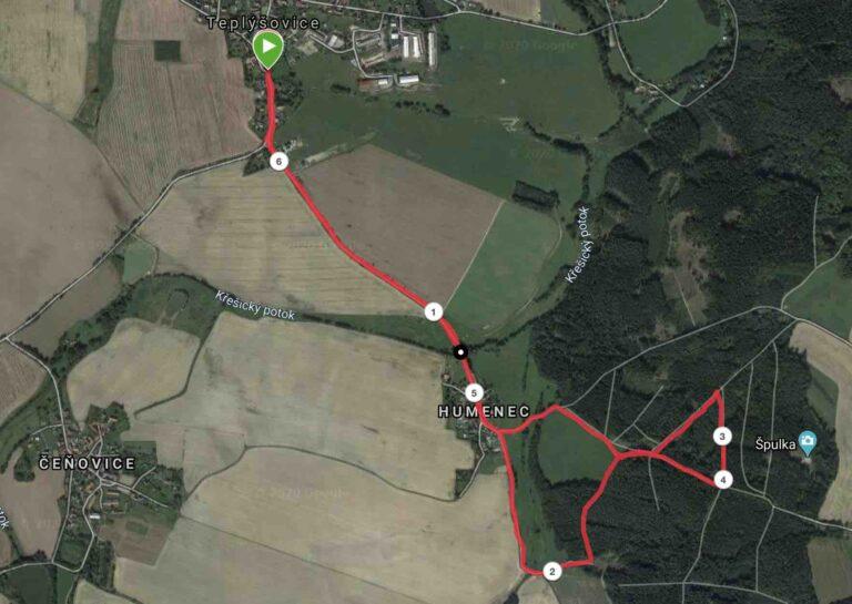 teplýšovický běh trasa rybníky 5 km